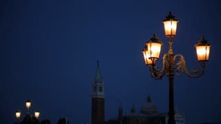 MH LD Bell Tower and Street Lamp at Night / Venice, Italy