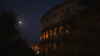 MH LD Coliseum Exterior with Moon / Rome, Italy