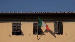 MH LD Italian Flag Blowing in Wind on Building / Tuscany, Italy