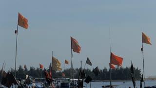MH LD Vietnamese Flags on Boats Waving in Breeze / Vietnam