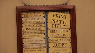 MH TD Italian menu on wall / Tuscany, Italy