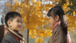 MS Boy and girl talking, holding dry leaves in park / China