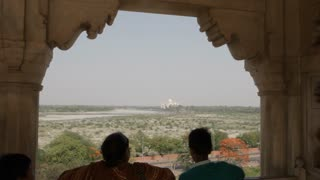 MS Distant view of Taj Mahal / India