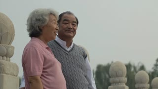 MS Elderly couple talking and looking, standing around in park / China
