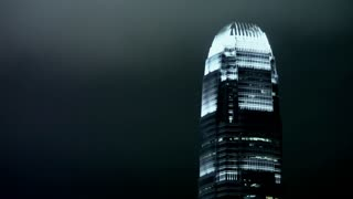 MS LA 2 International Finance Centre illuminated at night / Hong Kong