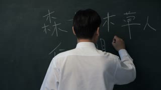 MS Man writing Chinese characters on blackboard, turning to look at camera