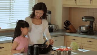 MS Mother and daughter cooking in kitchen / China