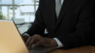 MS TU Businessman smiling and typing on laptop in office