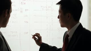 MS Two businessmen discussing and writing on white board / China
