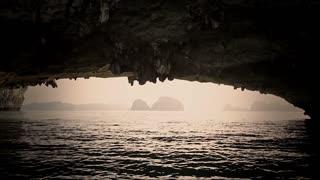MS Under rock arch in Ha Long Bay / Vietnam