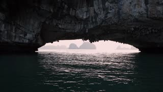 MS View of natural rock arch in Ha Long Bay / Vietnam