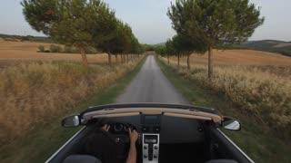 POV of woman driving down treelined road, Tuscany, Italy