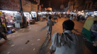 POV WS Busy Road from Inside of Motor Trishaw / Varanasi, India