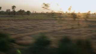 POV WS Countryside at sunset / India