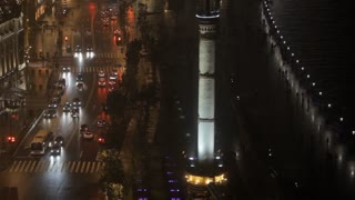 TU MS HA WS View of traffic on street in The Bund district at night/ Shanghai, China