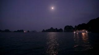WS Boats at night in Ha Long Bay / Vietnam