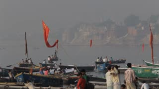 WS Boats on shore of Ganges / Varanasi, India