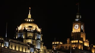 WS Buildings on the Bund, lit up at night / Shanghai, China