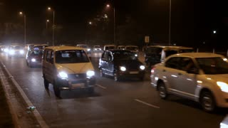 WS Busy road at night / New Delhi, India
