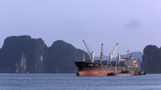 WS Container ship in bay / Ha Long Bay, Vietnam
