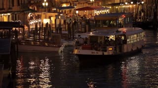 WS Ferry Boat Floating on Grand Canal at Night / Venice, Italy