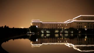 WS Great Hall of the People reflecting in lake at night/ Beijing, China