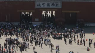 WS HA Large crowd in front of Forbidden City / Beijing, China