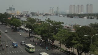 WS HA LD City Traffic Next to Saigon River / Vietnam