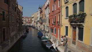 WS HA LD People Walking Along Canal / Venice, Italy