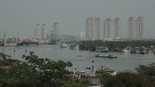 WS HA LD Saigon River and Cityscape / Ho Chi Minh, Vietnam