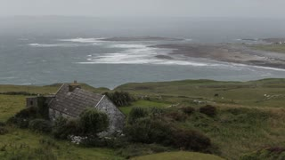 WS HA LD Stone Cottage on Hillside near Ocean / Ireland