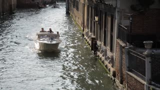 WS HA TD Boat Going down Canal / Venice, Italy