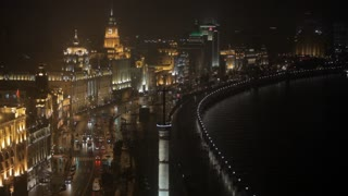 WS HA View of The Bund and Huangpu River at night / Shanghai, China