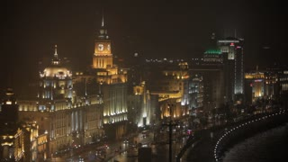 WS HA View of traffic on street in The Bund district at night/ Shanghai, China