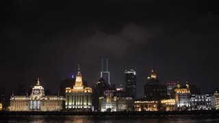 WS Huangpu River and The Bund skyline with at night / Shanghai, China