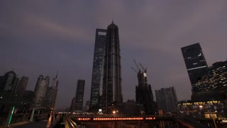 WS LA Night view of city skyline with Shanghai World Financial Center / Shanghai, China