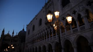 WS LA PAN Historic Buildings with Illuminated Street Lamps at Night / Venice, Italy