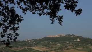 WS Landscape with town on horizon / Montepulciano, Tuscany, Italy