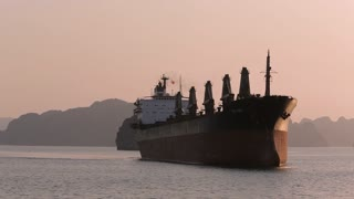 WS Large ship in bay at sunset / Ha Long Bay, Vietnam