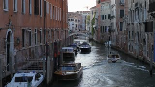 WS LD Boat Going down Canal / Venice, Italy