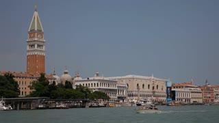 WS LD Boats Going by San Giorgio Maggiore / Venice, Italy