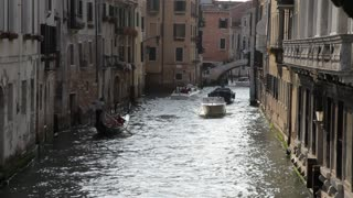 WS LD Boats Going down Canal / Venice, Italy