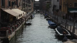 WS LD Canal with Moored Boats / Venice, Italy