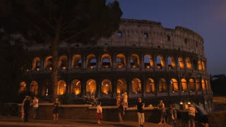 WS LD Coliseum at Night / Rome, Italy