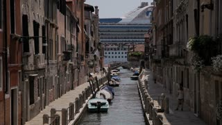 WS LD Cruise Ship Going by Canal / Venice, Italy