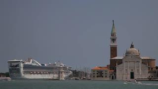 WS LD Cruise Ship Going Past San Giorgio Maggiore / Venice, Italy