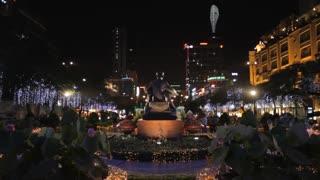 WS LD Decorative Lights Around Statue of Ho Chi Minh at Night / Ho Chi Minh, Vietnam