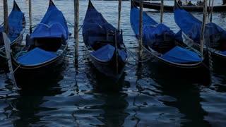 WS LD Gondolas Moored in Water / Venice, Italy