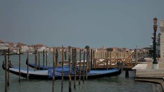 WS LD Moored Gondolas on Grand Canal / Venice, Italy