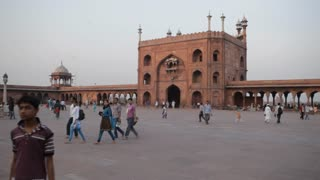 WS LD People Walking in front of Jama Masjid Mosque / India